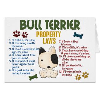Leyes 4 de la propiedad de bull terrier tarjeta