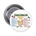 Leyes 4 de la propiedad de la chihuahua pins