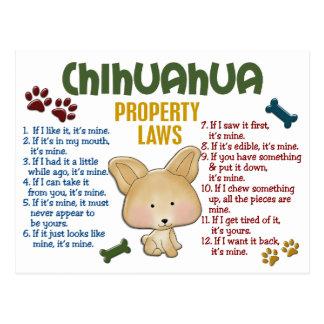 Leyes 4 de la propiedad de la chihuahua postales