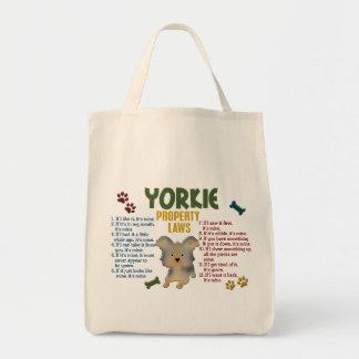 Leyes 4 de la propiedad de Yorkie Bolsa Lienzo