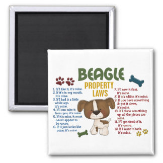 Leyes 4 de la propiedad del beagle imán cuadrado