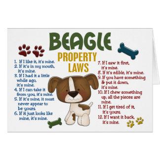 Leyes 4 de la propiedad del beagle tarjeta de felicitación