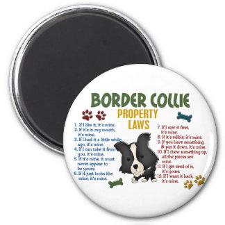 Leyes 4 de la propiedad del border collie imán para frigorifico