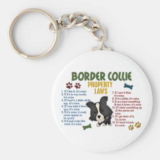 Leyes 4 de la propiedad del border collie llaveros personalizados