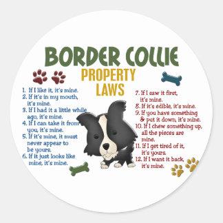 Leyes 4 de la propiedad del border collie pegatina redonda