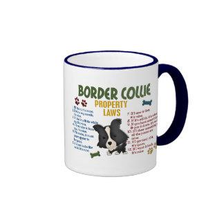 Leyes 4 de la propiedad del border collie tazas de café