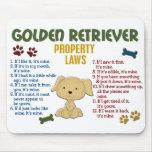 Leyes 4 de la propiedad del golden retriever alfombrilla de raton