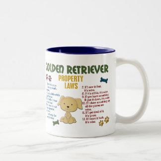 Leyes 4 de la propiedad del golden retriever taza de café de dos colores