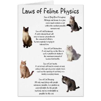 """""""Leyes de la física felina """" Tarjeta De Felicitación"""