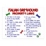 Leyes de la propiedad del GALGO ITALIANO Tarjetas Postales