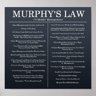 Leyes de Murphys de la gestión media Posters