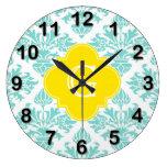Lg Aqua Damask #3 Yellow Quatrefoil Monogram Clocks