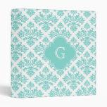 Lg Aqua Floral Damask #3 Aqua Quatrefoil Monogram Vinyl Binders