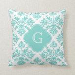 Lg Aqua Floral Damask #3 Aqua Quatrefoil Monogram Throw Pillow
