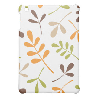 Lg Assorted Leaves Brown Orange Green Sand White Cover For The iPad Mini