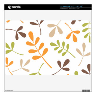 Lg Assorted Leaves Brown Orange Green Sand White Decal For The MacBook