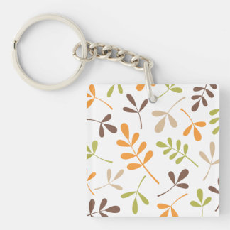 Lg Assorted Leaves Brown Orange Green Sand White Keychain