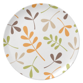 Lg Assorted Leaves Brown Orange Grn Sand White Dinner Plate