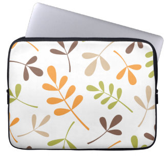 Lg Assorted Leaves Brown Orange Grn Sand White Laptop Sleeve