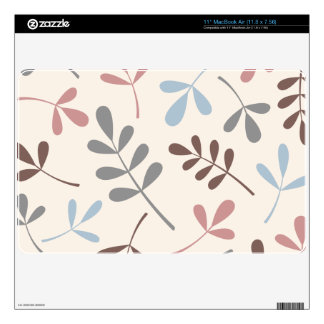 Lg Assorted Leaves Grey Taupe Blue Pink Cream Decals For The MacBook