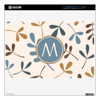 """Lg Asstd Leaves Blues Brwn Gld Crm (Personalized) Skin For 11"""" MacBook Air"""