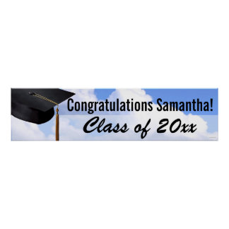 Lg Graduation Personalized Blue Sky Indoor Banner Poster