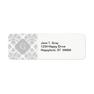 Lg Gray White Floral Damask #3 Gray Monogram Label
