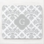 Lg Gray White Floral Damask #3 Gray Monogram Label Mouse Pad