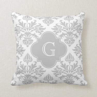 Lg Gray White Floral Damask #3 Gray Monogram Label Pillow