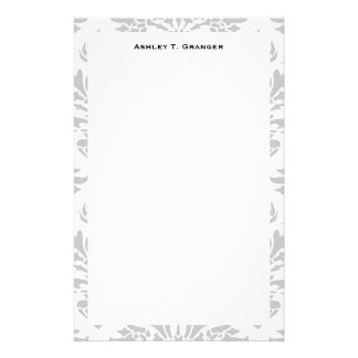 Lg Gray White Floral Damask #3 Gray Monogram Label Customized Stationery
