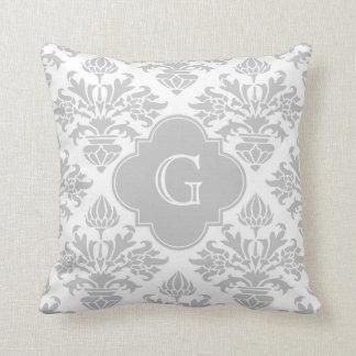 Lg Gray White Floral Damask #3 Gray Monogram Label Throw Pillow