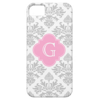 Lg Gray White Floral Damask #3 Pink Monogram Label iPhone 5 Cover