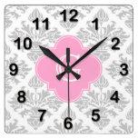 Lg Gray White Floral Damask #3 Pink Monogram Label Square Wall Clock