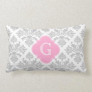 Lg Gray White Floral Damask #3 Pink Monogram Label Lumbar Pillow