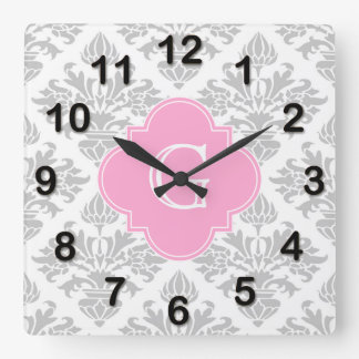 Lg Gray White Floral Damask #3 Pink Monogram Label Square Wall Clock