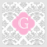 Lg Gray White Floral Damask #3 Pink Monogram Label Square Sticker
