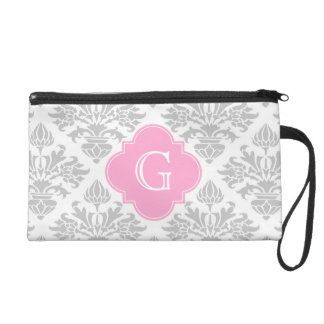 Lg Gray White Floral Damask #3 Pink Monogram Label Wristlet