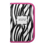 Lg. Hot Pink Accent Monogram Zebra Stripe Planner
