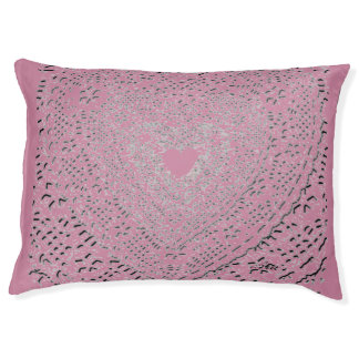 LG INDOOR DOG BED - PINK LACY HEART LOVE LARGE DOG BED