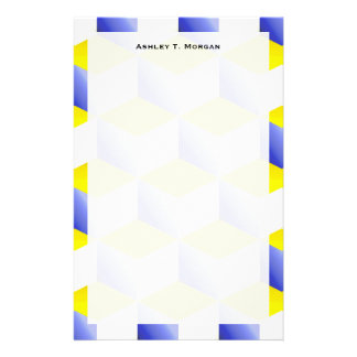 Lg Lt Blue Yellow White Shaded 3D Look Cubes Stationery