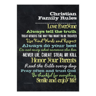 Lg Personalized Christian Family Rules House Sign Poster