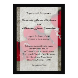 Lg Red Rose Petals on Sand Beach Wedding 5.5x7.5 Paper Invitation Card