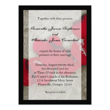 Beach Themed Lg Red Rose Petals on Sand Beach Wedding Card