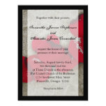 Lg Red Rose Petals on Sand Beach Wedding Custom Invites