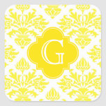 Lg Yellow Damask Yellow Quatrefoil Monogram Square Sticker