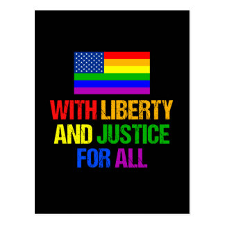 LGBT American Flag Liberty and Justice for All Postcard