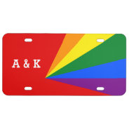Lgbt Color Rainbow Flag Wedding License Plate at Zazzle