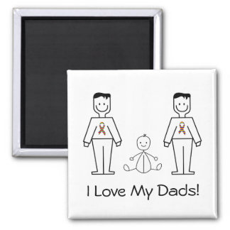 LGBT Customizable 2 Dads & A Baby Magnet