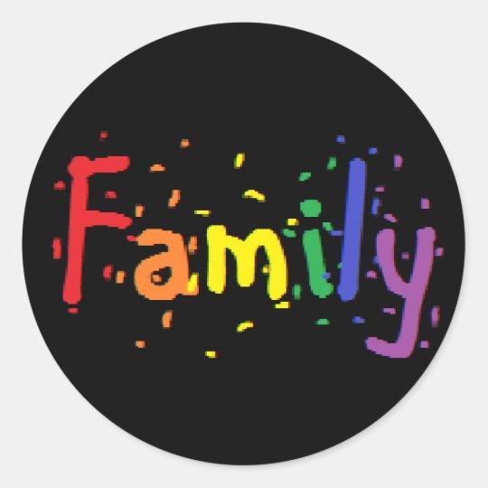 lgbt family logo classic round sticker zazzlecom