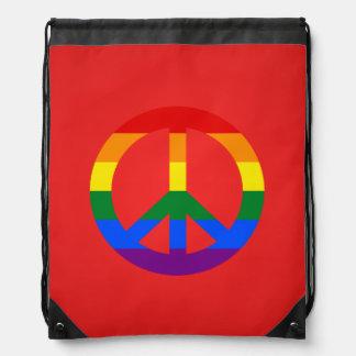 LGBT flag peace sign Backpack